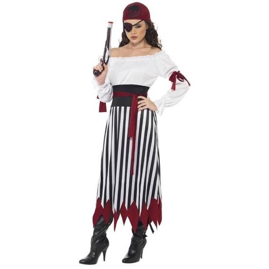 Zwart/wit/rood piraten verkleed kostuum voor dames