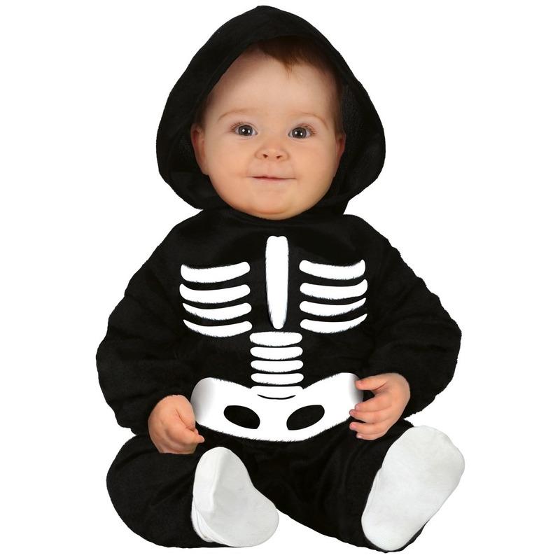 Zwart/wit skelet verkleedpak voor baby/peuter