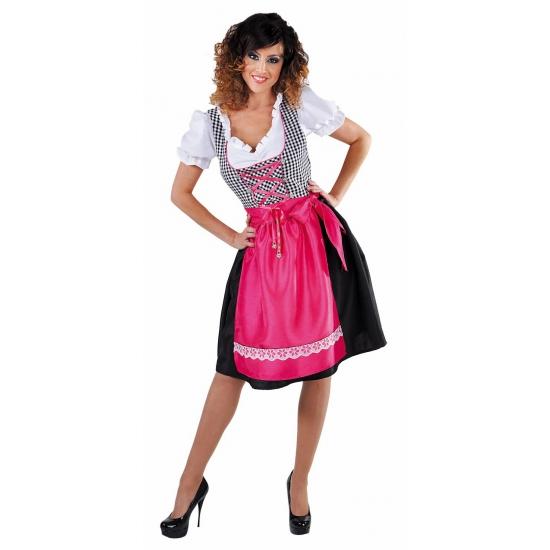 Zwart zijde Tiroler jurkje met roze schort