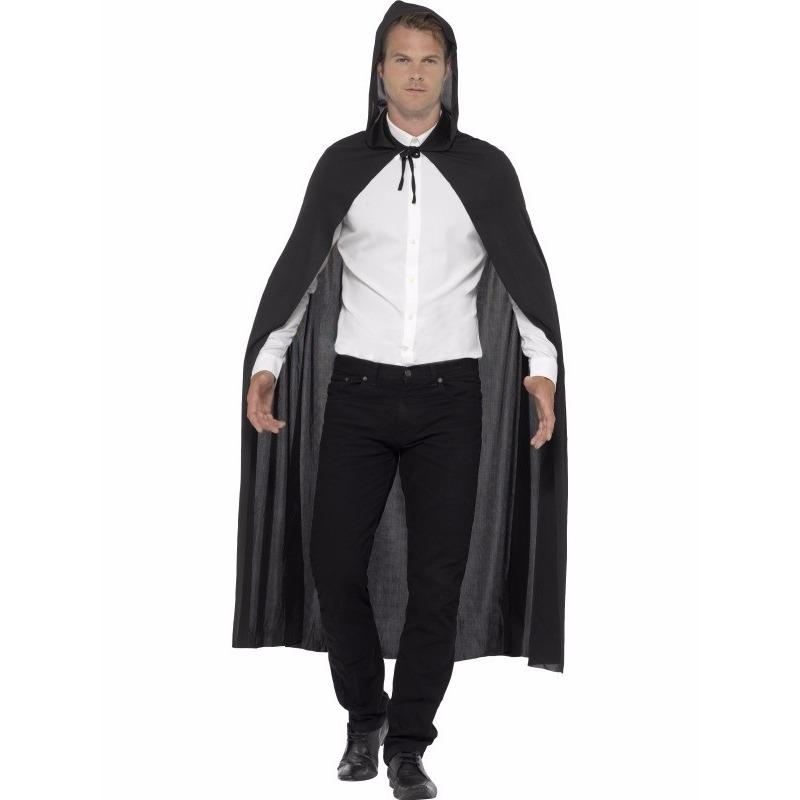 Zwarte cape met capuchon voor volwassenen