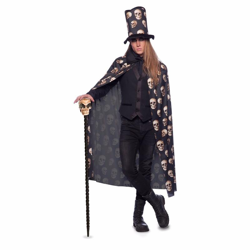 Merkloos Zwarte cape met hoge hoed voor volwassenen