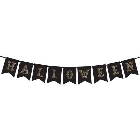 Zwarte Halloween DIY banner vlaggenlijn/slinger 20 x 175 cm