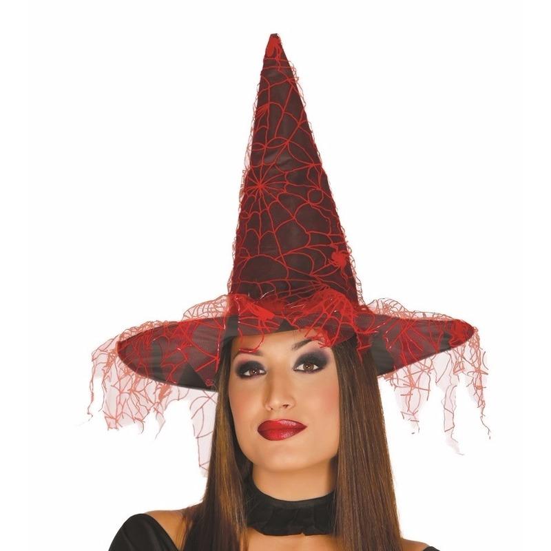 Zwarte heksenhoed met rood spinnenweb