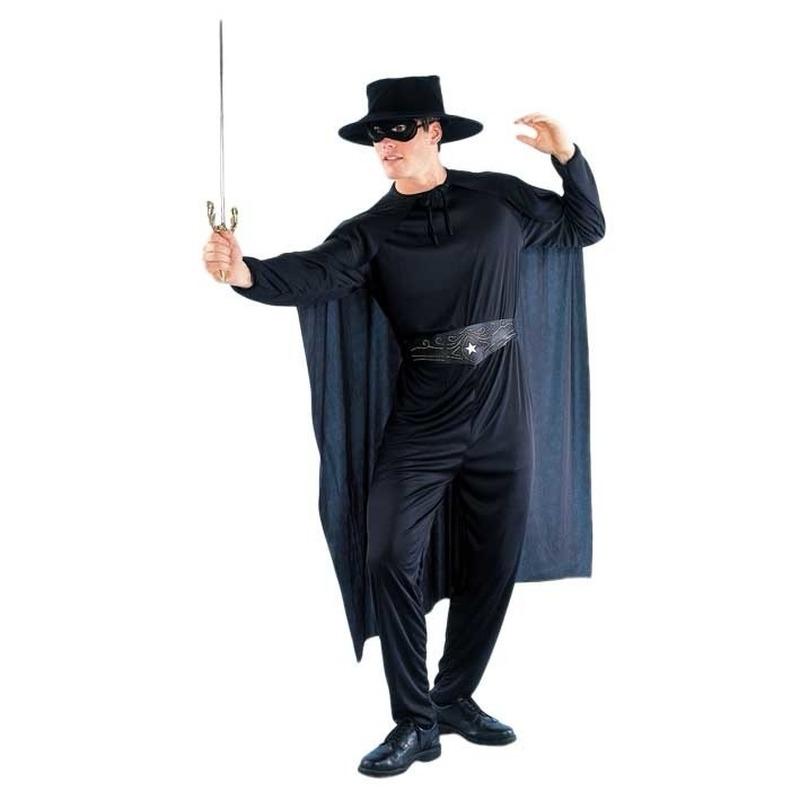 Zwarte held kostuum voor heren