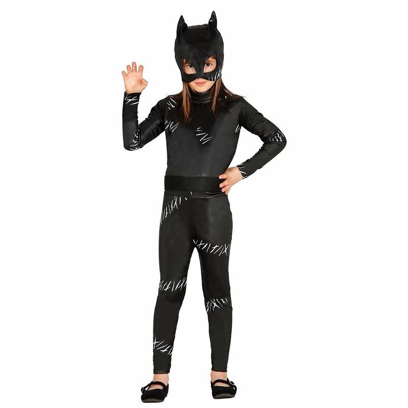 Zwarte kat/poes Halloween catsuit voor meiden