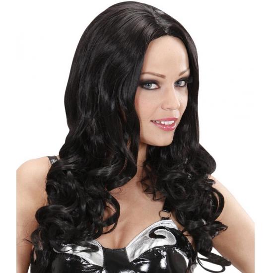 Zwarte krullen pruik lang voor dames