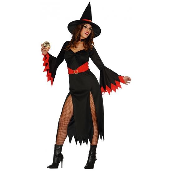 Zwarte lange heksen jurk met rode details