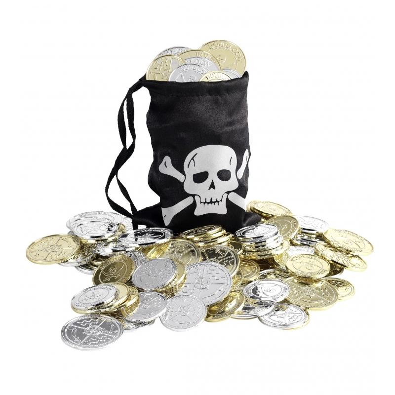Zwarte piraten buidel met munten