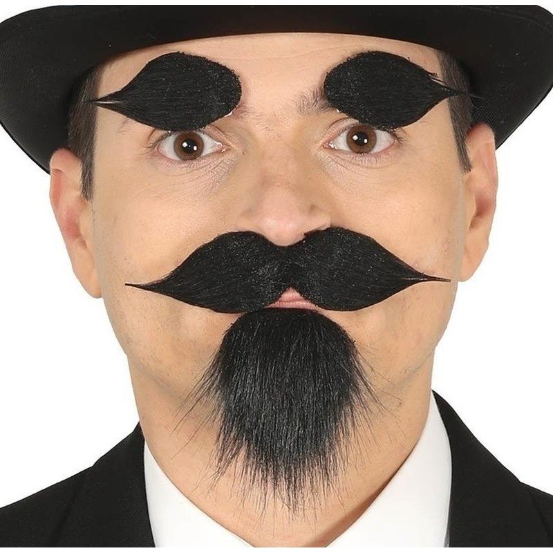 Zwarte sik met snor en wenkbrauwen zwart zelfklevend