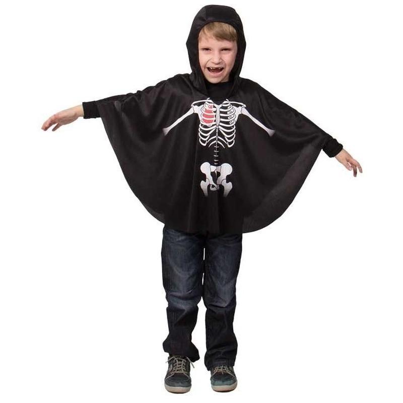 Merkloos Zwarte skelet verkleed cape voor kinderen
