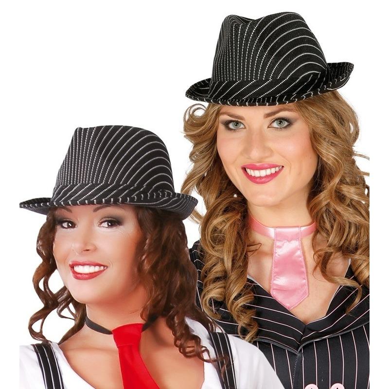 Merkloos Zwarte trilby hoed met krijtstreep voor volwassenen