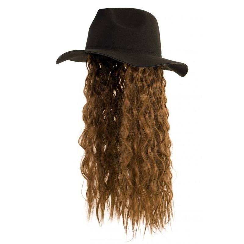 Zwarte verkleed hoed met pruik lang bruin haar