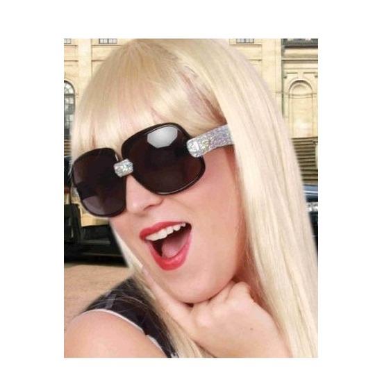 Merkloos Zwarte zonnebril/feestbril met zilveren glitters voor dames
